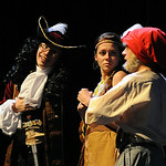 Patrick Butler as Hook, left,  Emma Gardner as Tiger Lily, and Ryan Urig as Smee rehearse with the cast. STEVE MANHEIM/CHRONICLE