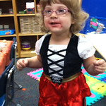Bella Stauffer, 3, dressed as a pirate for her preschool Halloween party.