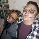Zombies Gage Lago, 12, and Maddison Lago,10, are ready for some Halloween fun.