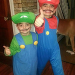 Cole Zigon, 3, as Luigi, and Ty Zigon, 5, as Mario, are off to save the princess.