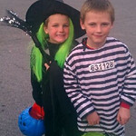 Witch Vincent Foley, 6, and Inmate Thomas foley, 7, show off their trick-or-treat loot.