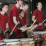 Oberlin College senior John Paddock, a member of the Taiko drumming group at the college, works his way down a series of drums during a performance Sunday at Hales Gym at Oberlin College. </p> <p> &#8230;