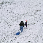 Maddie (age 8) and Matt Skelly climb the sledding hill in Cascade Park. Photo by Tom Mahl
