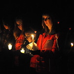 A candlelight vigil for Jim Muth, a Firelands High School teacher critically injured in a car crash, at Firelands High Stadium Nov. 23.  The attendees formed a circle around the football fie …