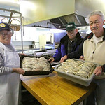 Joe Rodgers, John Wirth, and George Alberts, of American Legion Post 12 show off some of the 170lbs of fresh Lake Erie Perch that they cleaned for their fish fry. Friday 4-7 every Friday thr …