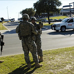 Soldiers from the 3rd Armored Cavalry Regiment plan out their course of action at the Army Base at Fort Hood, Texas in front of the Soldier Resiliency Center as they try to locate  Maj. Nida …