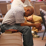 Milton Cruz attends a prayer service at Memorial Baptist Church in Killeen, Texas for the soldiers at Fort Hood who were killed or injured in a shooting at the Army base on Thursday, Nov. 5, …