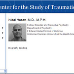 This screen shot made from the Center for the Study of Traumatic Stress Web Site shows Nidal Malik Hasan. Military officials say the suspected shooter at Fort Hood, Texas on Thursday Nov. 5, …