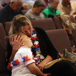 Cheryl Kohler whose husband is deployed in Iraq, and her son Bryar Kohler, 6,  attend a prayer service at Memorial Baptist Church in Killeen, Texas for the soldiers at Fort Hood who were kil …
