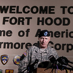 U.S. Army  Lt. Gen. Bob Cone speaks during a news conference outside Fort Hood, Texas, Thursday, Nov. 5, 2009.  Cone announced that the shooting suspect is in custody and not dead but in sta …