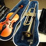 Music instruments donated to Elyria schools by Steve Smith of Pawn-N-Park on Dec. 2.  Steve Manheim