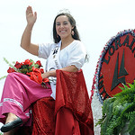 Festival Queen Lexi Zvosecz waves in the Lorain International Festival Parade June 30. Steve Manheim