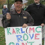 Karl Rove, ex-official of the George W. Bush administration and now with Fox News spoke at Finney Chapel.  Area Union leaders, rank and file and some students protested outside.      photo b …
