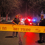 Police block off 18th Street in Elyria the night Officer Jim Kerstetter was shot and killed.