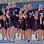 Police officers run in a 5-K race held in memory of Officer Jim Kerstetter.
