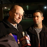 Elyria Police Chief Duane Whitely and Mayor Bill Grace talk to media the night Officer Jim Kerstetter was shot and killed.