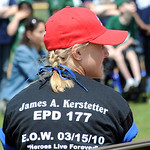 Misty Kerstetter wears a shirt honoring her dad at a Little League game dedicated to him.