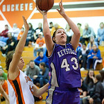 Keystone #43 Danielle Wilmoth gets past Buckeye defender #44 Jessica Banas for a layup.