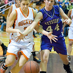 Keystone Mackenzie Conrad battles for the ball with Buckeye #3 Trisha Widenmeyer.