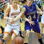 Keystone Mackenzie Conrad battles for the ball with Buckeye #3 Trisha Widenmeyer.