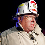 Fire Chief Michael Hannigan talks about a fire that occurred in the overnight hours and killed three people in Lebanon, Ohio Monday, Oct. 19, 2009. Three adults died in the early morning bla …