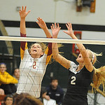 Whitney Craigo of Avon Lake, left,  and Shelby Kerstetter of Brookside, defend in game 2 of Lorain County All Star Volleyball on Nov. 14.  Steve Manheim