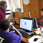 U.S. Rep. Marcy Kaptur chats with volunteers and passes out yardsticks Tuesday afternoon at the Lorain County Democratic Party phone bank. Here she is talking to Ileen Kelly of Cleveland, le …