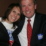 Mary Koziura and her dad, Joe Koziura who is running for County Commissioner.     photo by Chuck Humel