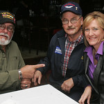 Betty Sutton, right,  visits Diso's Bistro in Lorain. Many Lorain County vets applauded her and others' effort to keep the Veterans Center in St. Josephs open, including Vietnam Vets Don Att …