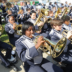 The Lorain High Titan Marching Band performs at the groundbreaking ceremony on Oct. 24. Steve Manehim