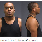 Lantous M. Thorpe, 22, of 634 W. 25th St., Lorain.