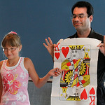 Magician Brad Schreiber teaches a class in magic in Avon. Note this is the same card that his assistant picked and showed to the class. Photo by Tom Mahl
