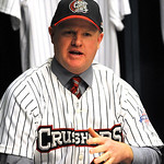 Jeff Isom is named new Crushers manager at a press conference at All Pro Freight Stadium on Dec. 19. Steve Manheim