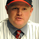 Jeff Isom,  new Crushers manager,  at All Pro Freight Stadium on Dec. 19.   Steve Manheim