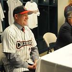 Jeff Isom, left, new manager of Crushers, sits alongside Steven Edelson, managing partner, at All Pro Freight Stadium on Dec. 19.   Steve Manehim