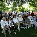 Parents, relatives and friends of graduates were happy to have shade in Tappan Square, Oberlin, at Oberlin College commencement exercises. photo  by Chuck Humel