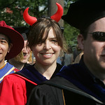 Oberlin College computer science faculty member Alexa Sharp wore a set of devil's horns to commencement. photo by Chuck Humel