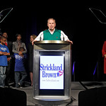 Ohio Governor Ted Strickland is joined onstage by other officeholders and families at the Ohio Democratic Party's election night event in Columbus, Ohio Wednesday, Nov. 3, 2010. Strickland l …