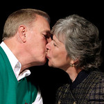 Ohio Governor Ted Strickland kisses his wife Francis, before a speech to the Ohio Democratic Party's election night event in Columbus, Ohio Wednesday, Nov. 3, 2010. Strickland lost to Republ …
