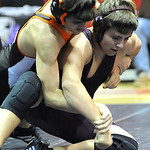 Wellington Matthew Kitko, front, loses to Buckeye's Bryan Landen in 160 wt class Jan. 17.   Steve Manheim
