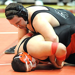 Keystone Jason Bustance, top, defeats Brookside Ivan Mendoza in 285 wt. class on Jan. 17. Steve Manheim