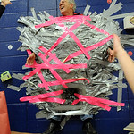 Prospect School principal Chuck Sanfilippo is duct taped to the wall by students for raising over $1,500 in the Pasta for Pennies benefits for the Leukemia and Lymphoma Society on Jan. 27.   …