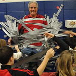 Prospect School studens place duct tape on principal Chuck Sanfilippo, at a Prospect School assembly on Jan. 27. The principal was duct taped to the wall by all the students, who raised ove …