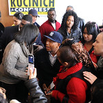 Music mogul Russell Simmons, center, campaigns with Dennis Kucinich in Lorain on Mar. 3.   Steve Manheim