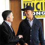 Music mogul Russell Simmons, right, campaigns with Dennis Kucinich in Lorain on Mar. 3.   Steve Manheim