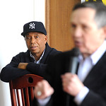 Music mogul Russell Simmons, left, campaigns with Dennis Kucinich in Lorain on Mar. 3. Steve Manheim