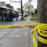 Cleveland police, fire and Cuyahoga County coroner's investigators meet before entering the home of Anthony Sowell in Cleveland Thursday, Nov. 5, 2009. Police began a further search of the h …