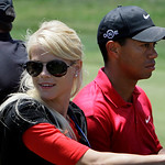 *** ADDS DATE OF ACCIDENT *** FILE – Tiger Woods' wife, Elin Nordegren, rides next to Woods after winning the US Open championship at Torrey Pines Golf Course on in this June 16, 2008 file p …