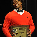 Tracy Sprinkle of Elyria football wins the 2012 Golden Helmet Award at EHS Performing Arts Center on Nov. 15.   Steve Manheim