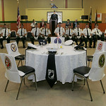 The Lorain High School, Jr. ROTC performed a POW/MIA Ceremony with a table set for the five military branches–the Army, Navy, Air Force, Marines and Coast Guard.